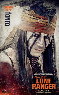 Johnny Depp as Tonto in The Lone Ranger poster
