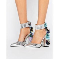 ASOS POPSTAR Wide Fit Embellished Heels ($97) ❤ liked on Polyvore featuring shoes, pumps, silver, pointed toe pumps, silver pointy toe pumps, high heeled footwear, wide width pumps and high heel pumps