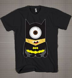 BATMAN MINION Parody  Mens and Women T-Shirt Available Color Black And White