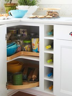 Maximize storage. Upgrade your closets by installing rods on two levels & adding pullout bins for socks and undergarments. Increase storage in your kitchen cabinets by installing a spice rack or a lazy Susan in a corner cabinet.