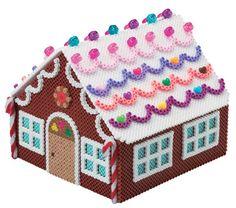 3D Christmas Gingerbread House perler beads by Mashiro