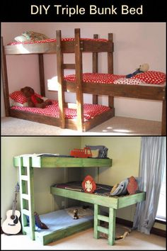 These Triple Bunk Beds Make Good Use of Space in a Shared Bedroom Bunk Beds Small Room, Adult Bunk Beds, Bunk Bed With Desk, Loft Bunk Beds, Bunk Beds With Stairs, Bunk Rooms, Kids Bunk Beds, Small Rooms, Child Room