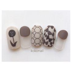 k o k o n a i l ( Cute Nail Art, Cute Nails, Aloha Nails, Asian Nails, Nail Pops, Japanese Nail Art, Nail Patterns, Garra, Fabulous Nails