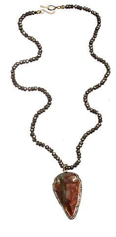 Sea + Stone Jewelry | Arrowhead, Pyrite + Diamond Necklace