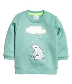 Sweatshirt with Printed Design | Dusky green | Kids | H&M US