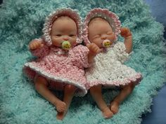 OOAK MINIATURE 3 INCH POLYMER CLAY POSEABLE BABY GIRL TWINS