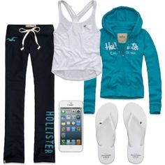 lounge time A fashion look from April 2013 featuring blue top, racerback tank tops and cotton sweat pants. Browse and shop related looks. Hollister Outfit, Hollister Clothes, Hollister Style, Lazy Day Outfits, Summer Outfits, Casual Outfits, Lucas Scott, Kendall Jenner Outfits, Lounge Outfit