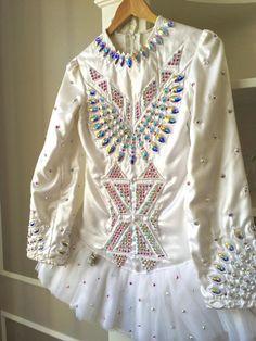 Dazzling White Gavin Doherty Irish Dance Dress Solo Costume For Sale