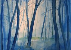 Fog in the forest Painting  - Fog in the forest Fine Art Print