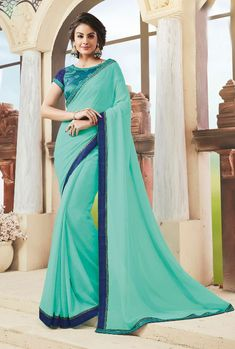 Color fancy dyed in and Fabric with fancy lace border and decorated with heavy resham, patch, zari and stone work. Art Silk Sarees, Chiffon Saree, Indian Couture, Party Wear Sarees, Embroidered Blouse, Indian Dresses, Indian Wear, Lehenga, Sari