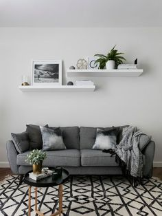Scandinavian Living Room Ideas ---- Ideas Decor Small Interior Layout Colors Modern Farmhouse Rustic Apartment Cozy Contemporary Design Furniture Eclectic Bohemian Paint Traditional Rug Country Neutral Gray Fireplace Grey Wall Lighting Fixer Upper On A Bu Living Room Paint, Living Room Colors, Living Room Grey, Small Living Rooms, Living Room Interior, Decor For Living Room, Small Living Room Designs, Small Apartment Living, Living Room Shelves