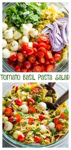 20 Minute Tomato, Basil, and Mozzarella Pasta Salad Baker by Nature - Pasta rezepte Vegetarian Recipes, Cooking Recipes, Healthy Recipes, Vegetarian Pasta Salad, Healthy Pasta Salad, Food Salad, Fruit Salad, Tomato Basil Pasta, Basil Pasta Salads