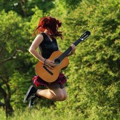 air guitar, beautiful, cool, ginger, girl, guitar