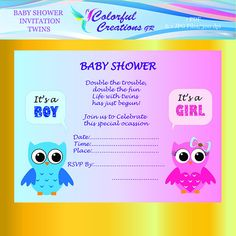 """OFF SALE Baby Shower Twins Invitation """"Double The Trouble"""", Twins Baby Shower Invitation, Owls, Printable, Personal And Commercial Use Twin Babies, Twins, Pink Owl, Frame It, Baby Shower Invitations, Rsvp, Craft Projects, Digital, Fun"""