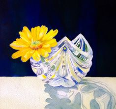 Daisy in a crystal bowl. Watercolour by Judith Jerams , France from photos provided by photographers for artists to use (copyright free) on fab site paintmyphoto.ning.com