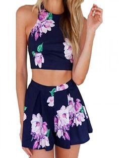 Blue,Back Strap Cross,Floral Print,Crop Top,High Waist,Shorts,Two Piece Suit, Two Piece Set