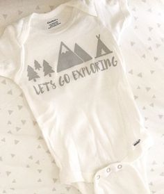 Baby Clothes Lets Go Exploring Baby Onesie. Bodysuit or Tee Shirt Available. Baby Shower Gifts. Modern Baby Clothing