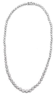 Graduated Bezel Set Cubic Zirconia and Sterling Silver Necklace (#N005142)