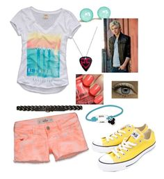 """R5 Day 5"" by jade-ross32 ❤ liked on Polyvore featuring Hollister Co., Tiffany & Co., China Glaze and Converse"