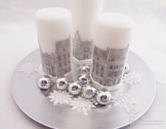 Dickens inspired tablescape for 100 Proof Press Rubber Stamps. - How to stamp on candles.