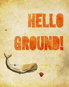 Hello Ground  hitchhikers guide to the by studiomarshallarts, $12.00
