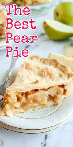 Apple pie is delicious but have you ever tasted Pear Pie? It's like apple pie, only better. Dripping with cinnamon and sugar and wrapped in a buttery, flaky crust, this pear pie is all you are ever going to look for in a pie. I promise! #dessert #pie #pearpie #easypearpie #thebestpearpie #thanksgiving #christmas #thanksgivingpie #christmaspie #homemadepiecrust #recipe #numstheword