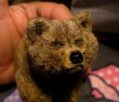Bear Hand Sculpted with real hair by: Linda Fisher