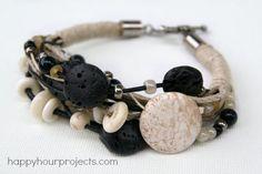 Stone, Bone, and Lava Bead Layered Bracelet at www.happyhourprojects.com