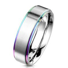 d10338cc8a Rainbow Ring stepped edge with brushed steel center Stainless band Sizes  5-13 #Unbranded