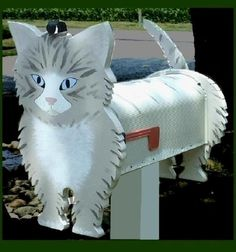 unique Kitten Cat MAILBOX: a beautiful feline accent for home