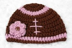 Daddy's Girl Crochet Football Hat // Pink with Flower by lauraanncrochet, $8.50