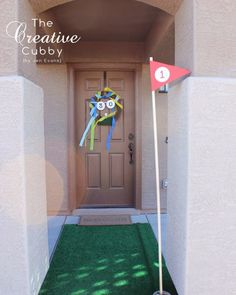Adult Golf Party - The Creative Cubby -- Use astroturf in your front walkway!