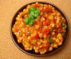 Risotto de cevada com tomate e abobrinha