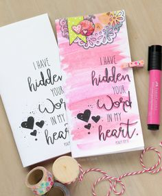 Make a beautiful notebook for Bible journaling using the FREE printable cover in post.  Two video tutorials show you the how-to! | pitterandglink.com
