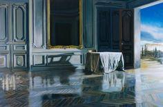 Antoni Taulé - Room with a Mirror Mirror Art, Mirrors, Blue, Painting, Room, Pintura, Oil On Canvas, Bedroom, Painting Art