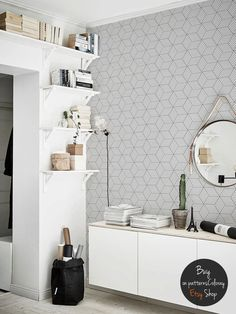 Gray geometric cubes pattern, removable wallpaper, scandinavian style #65