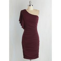 Mid-length One Shoulder Sheath Tasting Room Dress ($60) ❤ liked on Polyvore featuring dresses, sheath dress, flutter sleeve dress, one shoulder sheath dress, burgundy cocktail dress and burgundy dress