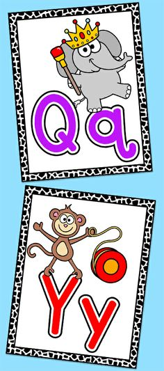 These fun jungle / wild animals theme alphabet posters will look fantastic on your kindergarten classroom wall! The bright colors and fun characters will have your students excited to practice their A B Cs. Patterning Kindergarten, Kindergarten Activities, Classroom Activities, Kindergarten Classroom, Preschool, Jungle Theme Classroom, Classroom Walls, Classroom Themes, Fun Educational Games