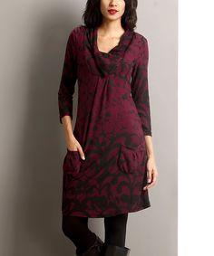 Look at this #zulilyfind! Plum Floral Pocket Shawl Collar Dress by Reborn Collection #zulilyfinds