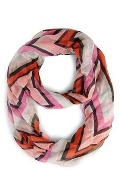 Deb Shops Woven Infinity Scarf with Chevron Print $8.10