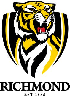 """Our AFL footy team that we are members of. Love going to the footy and sitting with the cheer squad. Love checking out the """"Tiger Den"""" supporter superstore. C'arn the mighty tigers! Soccer Logo, Football Team Logos, Sports Team Logos, Sport Football, College Football, Richmond Afl, Richmond Football Club, Australian Football League, Tiger Team"""