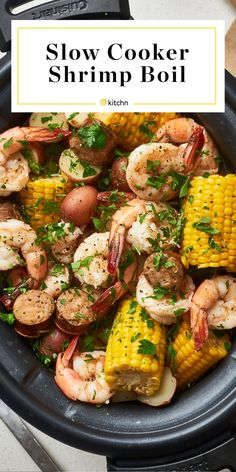 How to Make the Best Shrimp Boil in the Slow Cooker. This southern cajun favorite is easy to make in your crockpot or crock pot. Great for parties in the summer or any kind of party really. You'll be living well with this simple main dish for a cro Slow Cooker Recipes, Crockpot Recipes, Cooking Recipes, Healthy Recipes, Summer Crock Pot Recipes, Crockpot Party Food, Dishes Recipes, Recipies, Slow Cooking