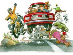 Traffic, by Mort Drucker Jack Davis, Commercial Art, Feature Film, Childrens Books, Illustrators, Drawings, Artwork, Transportation, Cartoons