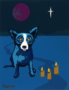 Writing about the life and art of George Rodrigue. Blue Dog Art, Blue Art, Blue Dog Painting, Dog Artist, Dog Cafe, Dog Paintings, Silent Night, Love Blue, Moon Child