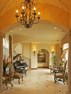 This is the tile floor pattern I love. I really also love the oak base boards. ] Extraordinary Tile Floor Designs For Kitchens: Mediterranean Entry Small Tiles In The Hallway And Big Tiles In The Living Room Classic Chandelier Grand Piano ~ buymyshitpile.com Decorating Inspiration