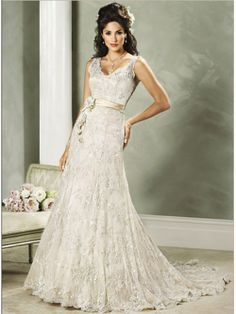Hot Selling Cream Golden Band V Neck Floor-length Sleeveless Sweep Train Vintage Lace Wedding Dresses With Embroidery WLD-7043 $229.79 Bridal-Buy.com
