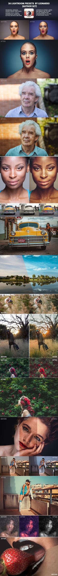 50 UNIQUE PRESET BY LEONARDO is the set of professional Lightroom Presets for photographers and designers.You'll get 120 stunning, universal Lightroom presets. Simple to use, these effects consist of more than 10 different types of effects from Old film to Landskape Presets. These presets were tested and optimized to give nice results for a wide variety of images, and different type of files : raw, jpg, tiff. http://graphicriver.net/item/50-lightroom-presets/9965398