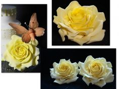 yellow roses, butterfly By taartendeco on CakeCentral.com