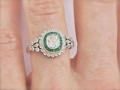 edwardian emerald and diamond ring -- Would love this with a sapphire instead of emerald.