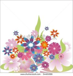 Colorful Flower Bouquet illustration - stock photo